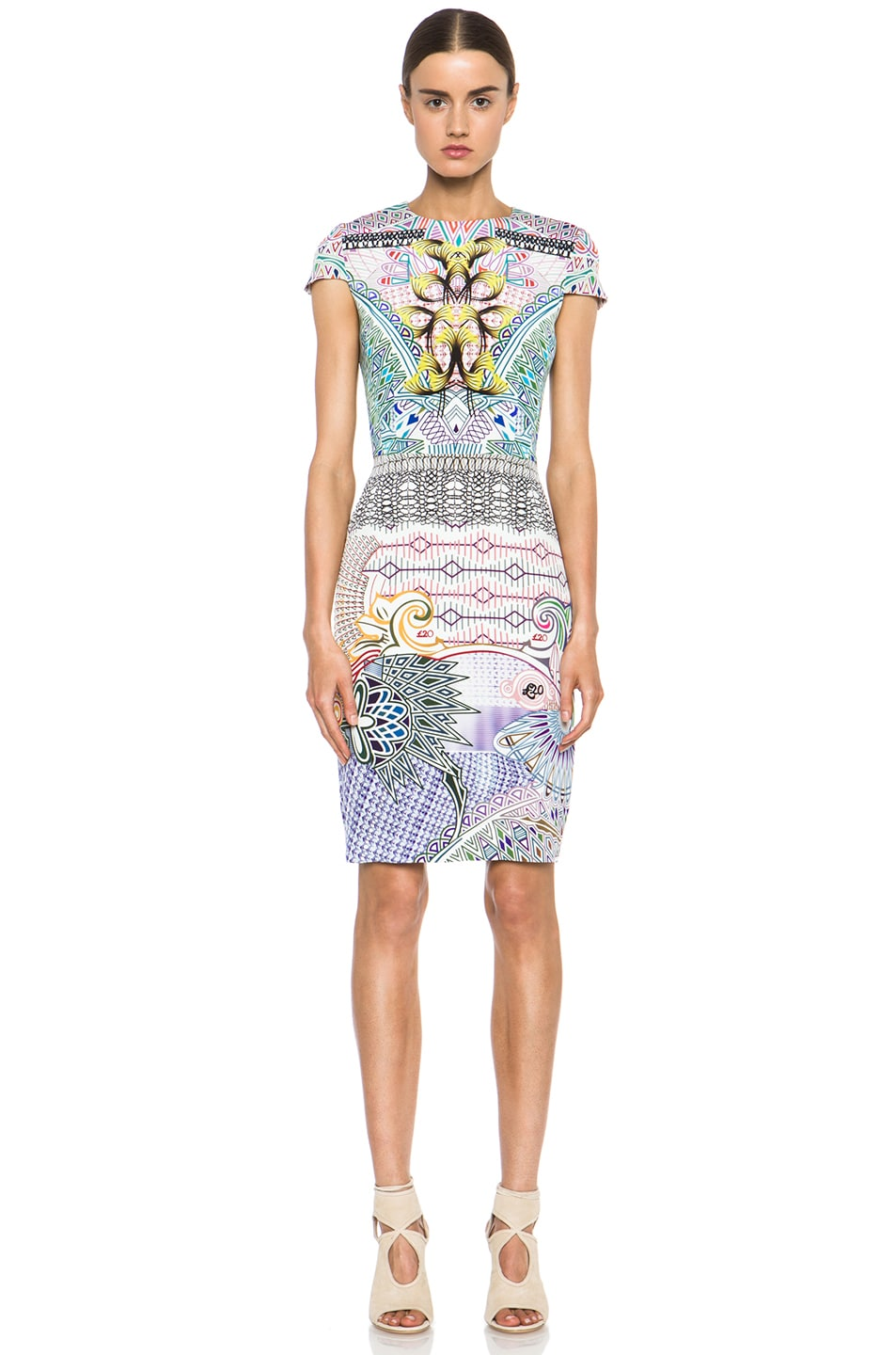 Image 1 of Mary Katrantzou Fitted Cap Sleeve Dress in Slope