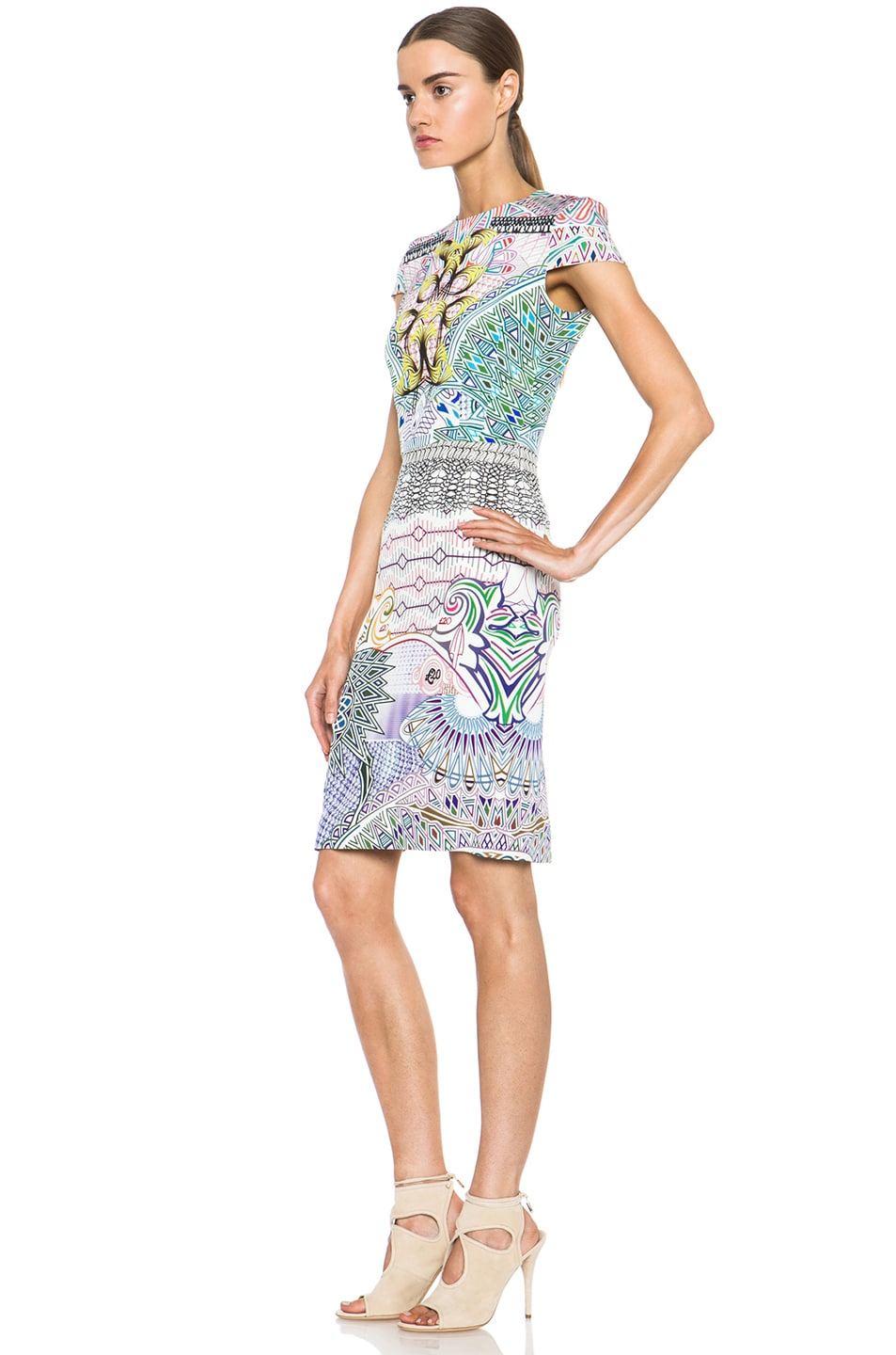 Image 2 of Mary Katrantzou Fitted Cap Sleeve Dress in Slope