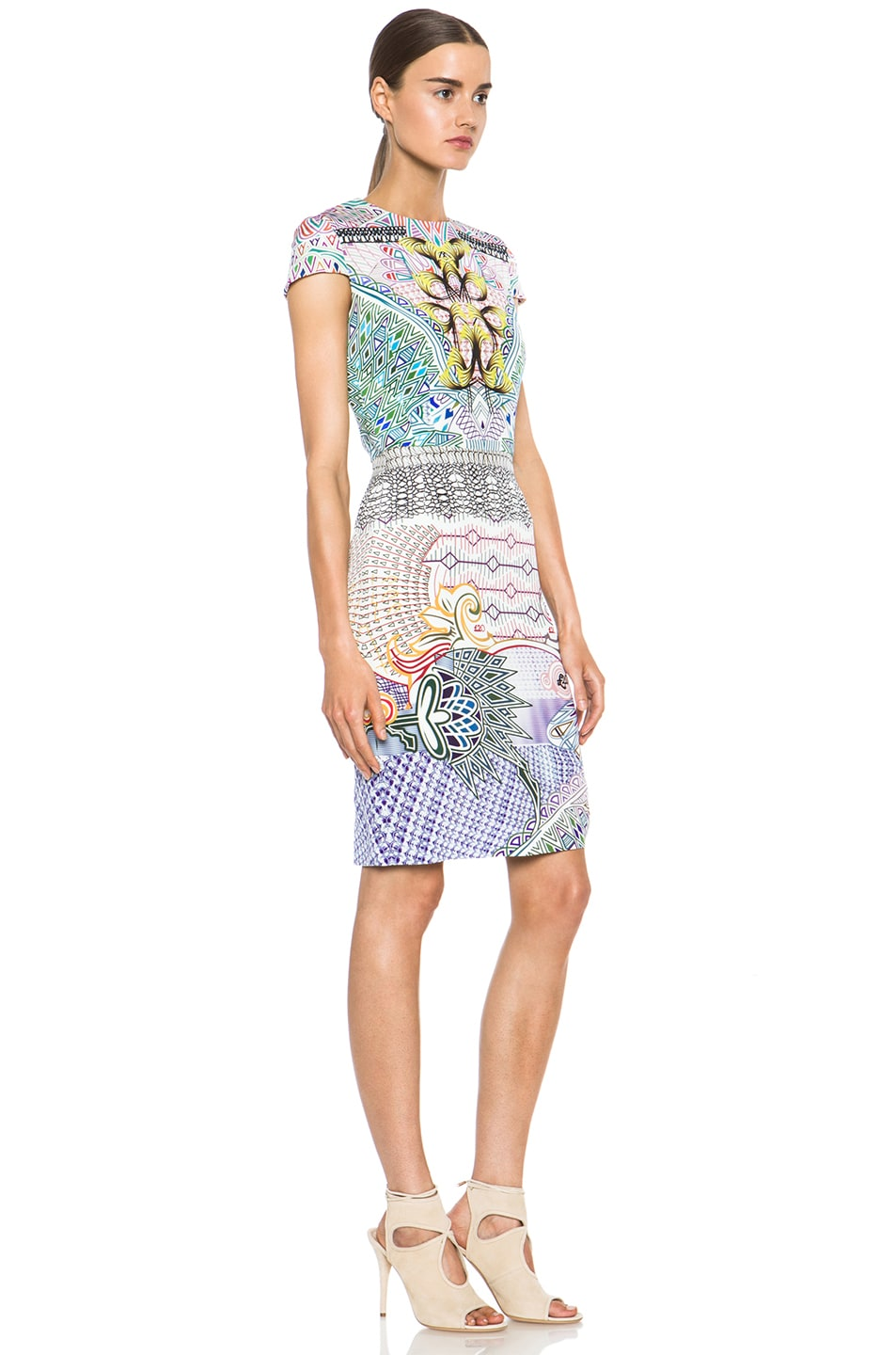 Image 3 of Mary Katrantzou Fitted Cap Sleeve Dress in Slope