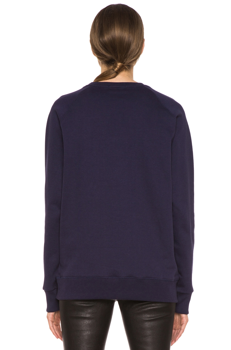 Image 4 of Maison Kitsune Cotton Sweater with Print in Navy