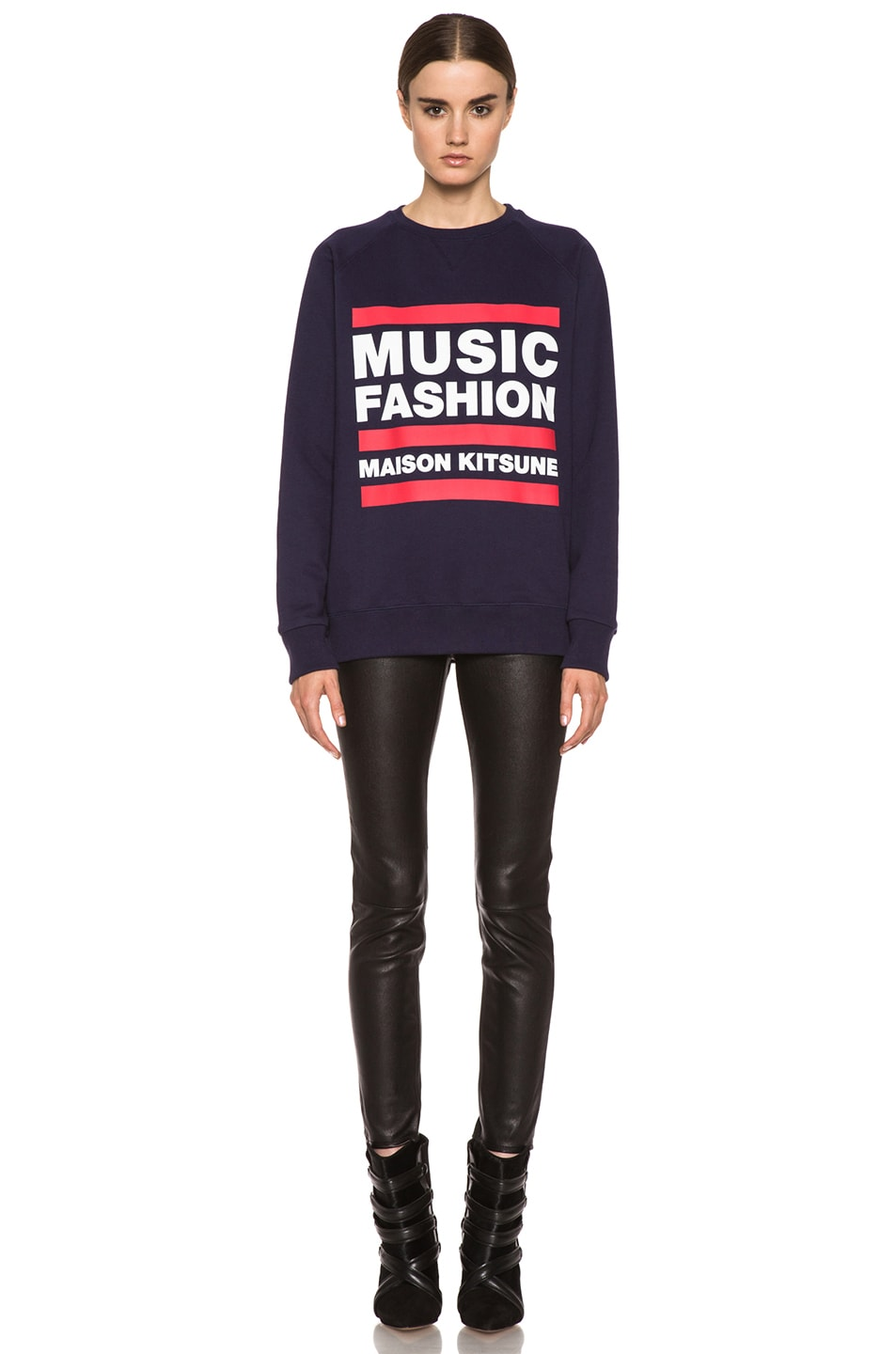 Image 5 of Maison Kitsune Cotton Sweater with Print in Navy