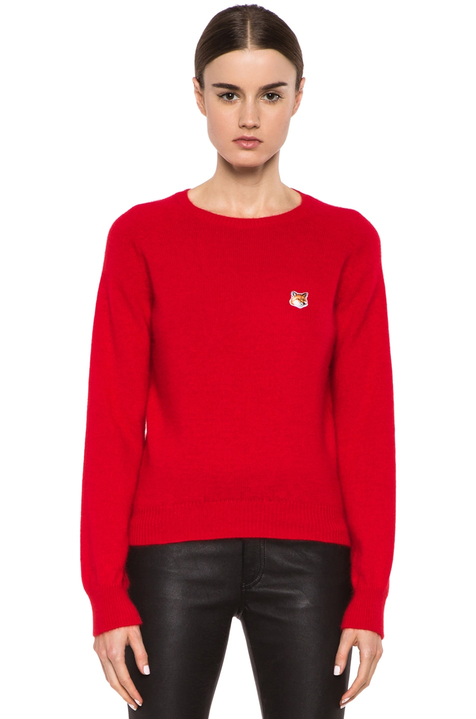 Image 1 of Maison Kitsune Classic Angora-Blend Pullover in Red