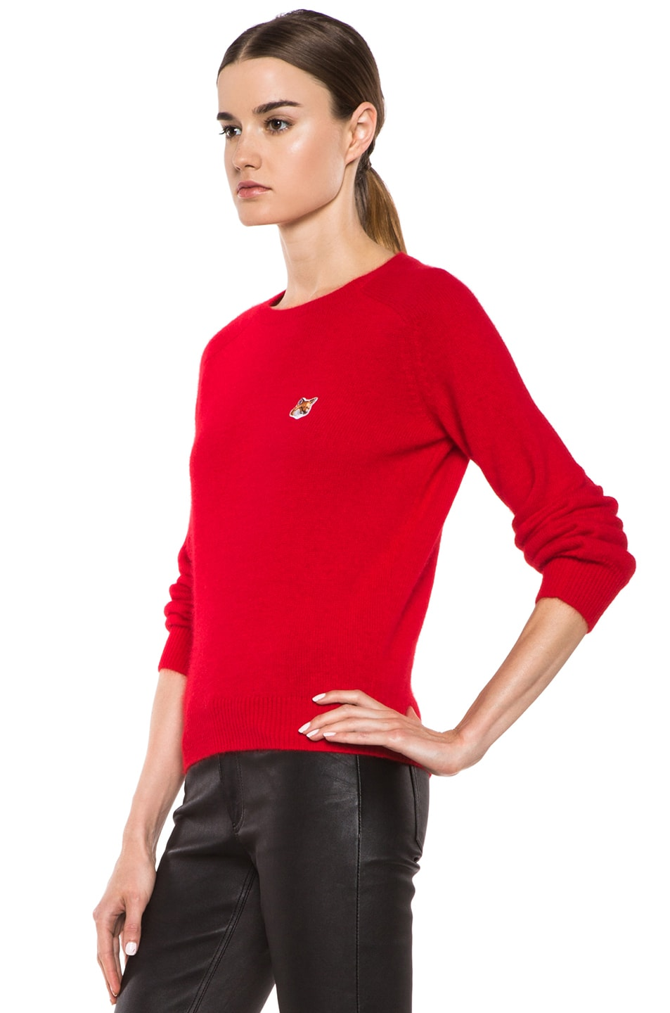 Image 2 of Maison Kitsune Classic Angora-Blend Pullover in Red