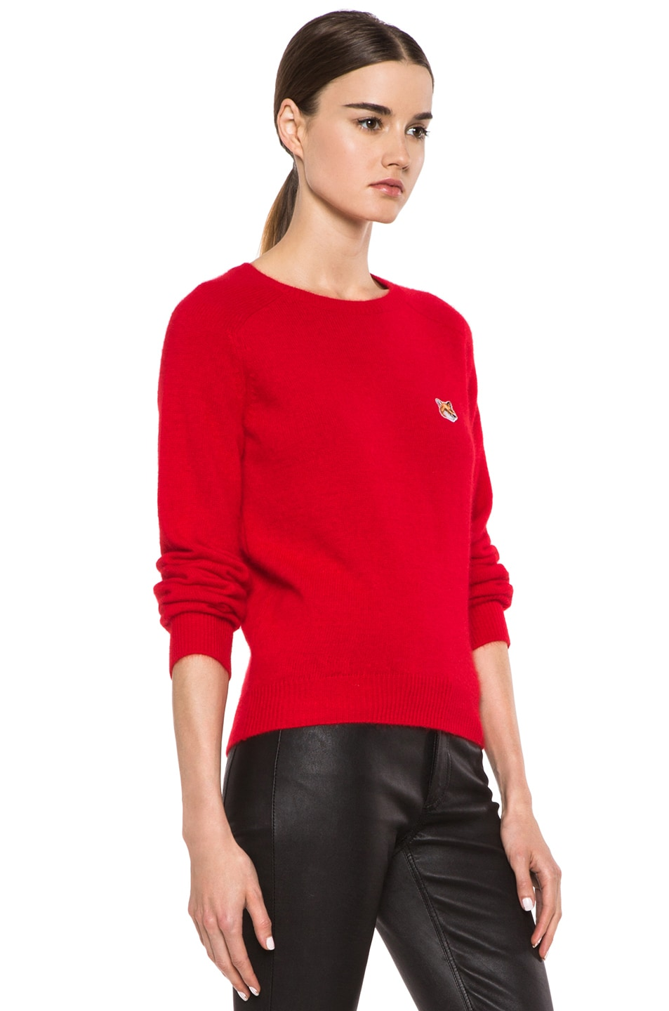 Image 3 of Maison Kitsune Classic Angora-Blend Pullover in Red
