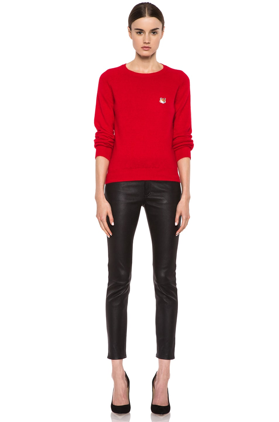 Image 5 of Maison Kitsune Classic Angora-Blend Pullover in Red