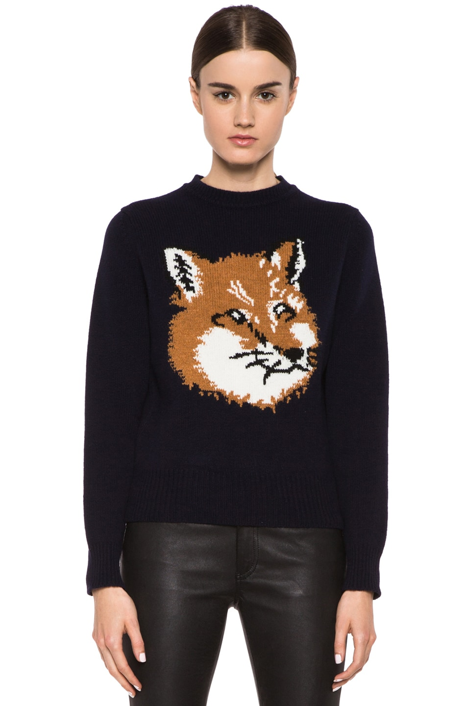 Image 1 of Maison Kitsune Fox Head Wool Pullover in Navy