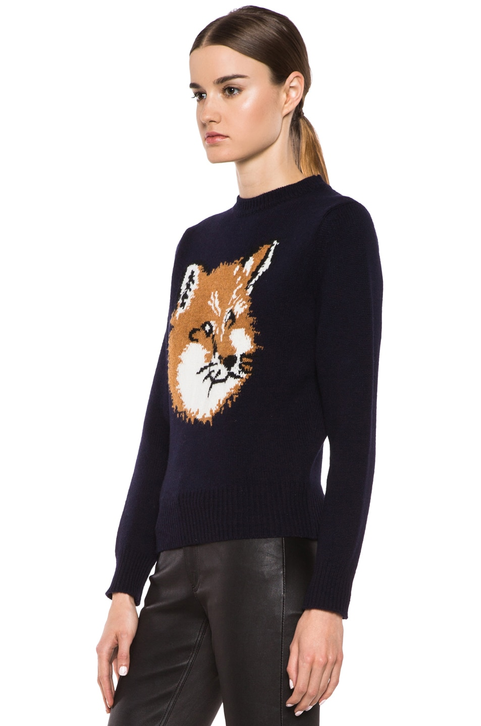 Image 2 of Maison Kitsune Fox Head Wool Pullover in Navy