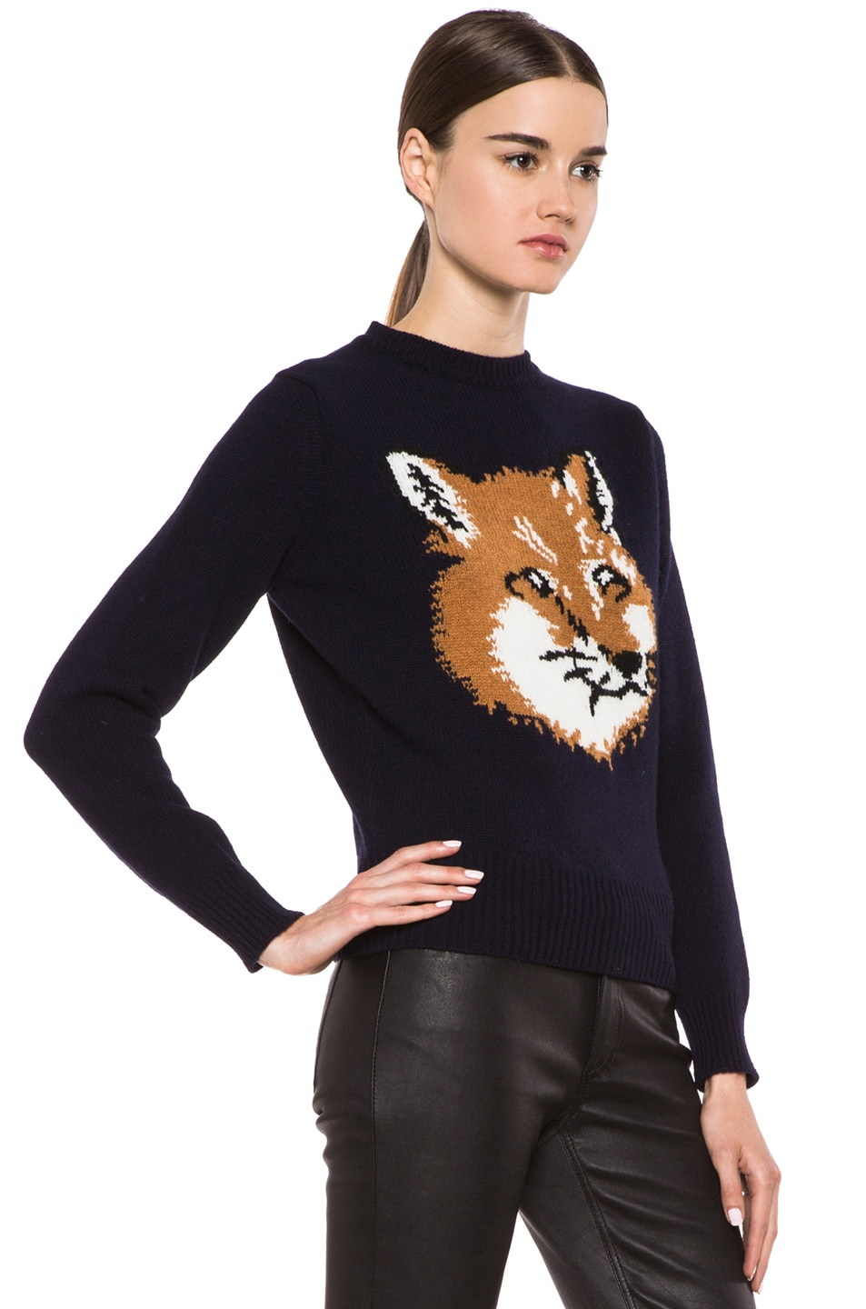 Image 3 of Maison Kitsune Fox Head Wool Pullover in Navy