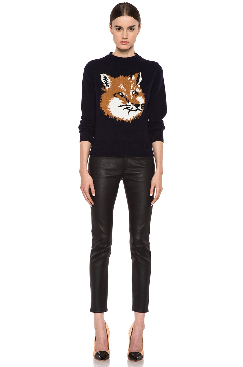 Image 5 of Maison Kitsune Fox Head Wool Pullover in Navy