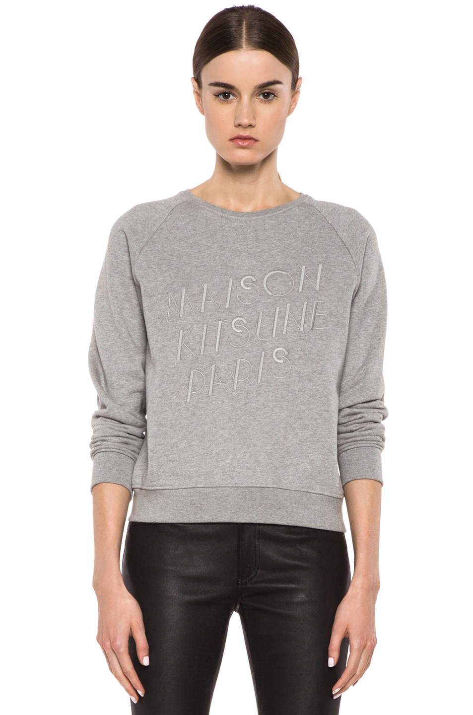 Image 1 of Maison Kitsune Classic Cotton Sweater with Embroidery in Grey Melange