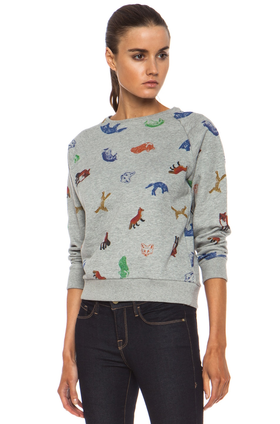 Image 2 of Maison Kitsune Childish Cotton Sweatshirt in Grey Melange