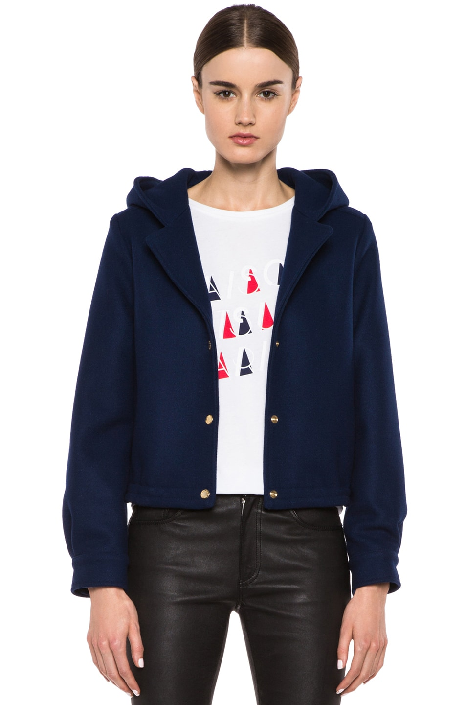 Image 1 of Maison Kitsune Teddy Wool-Blend Hood Jacket in Indigo