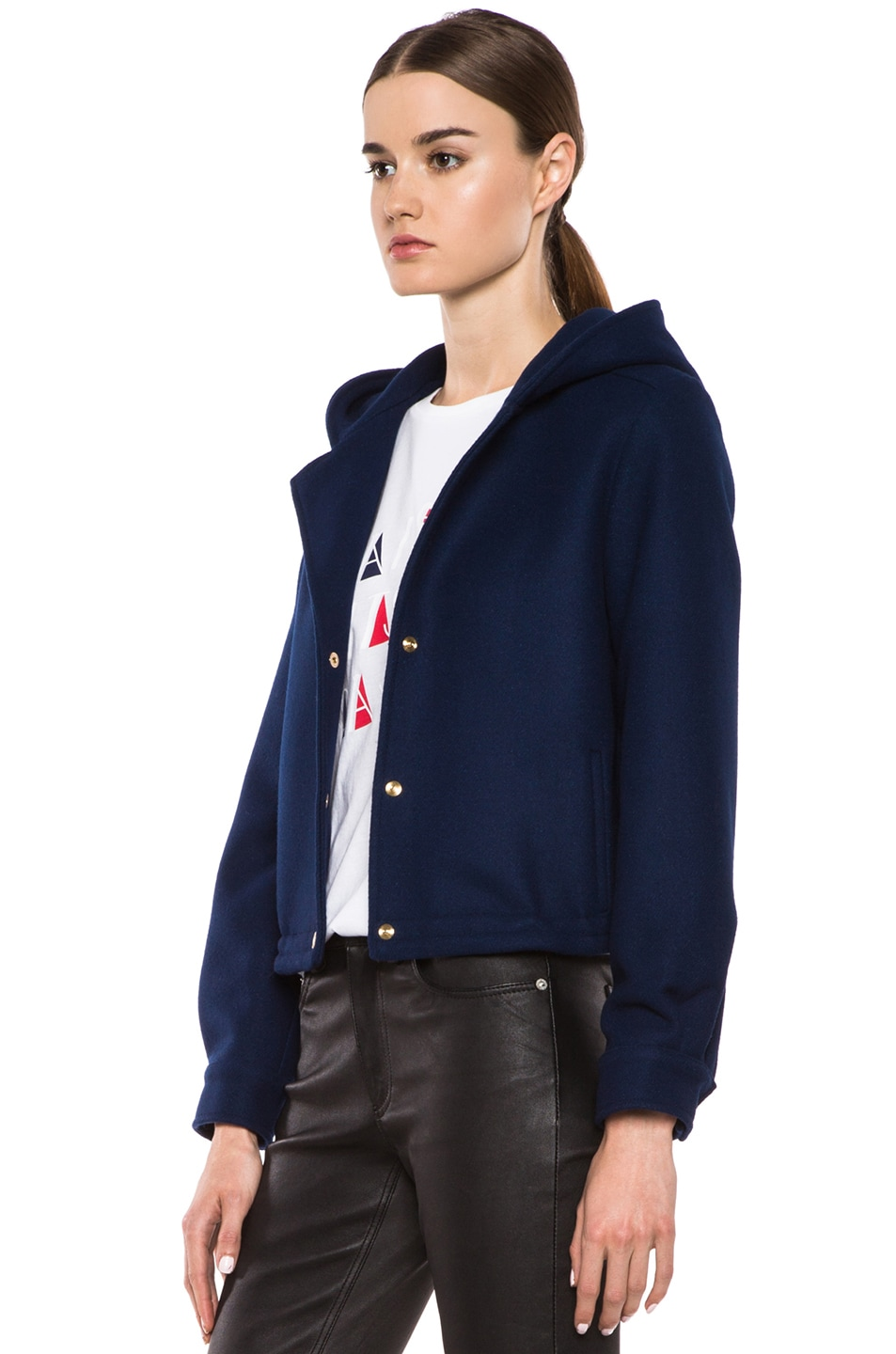 Image 3 of Maison Kitsune Teddy Wool-Blend Hood Jacket in Indigo
