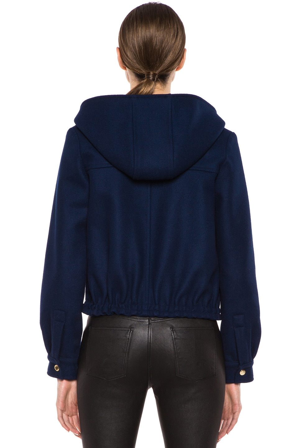 Image 5 of Maison Kitsune Teddy Wool-Blend Hood Jacket in Indigo