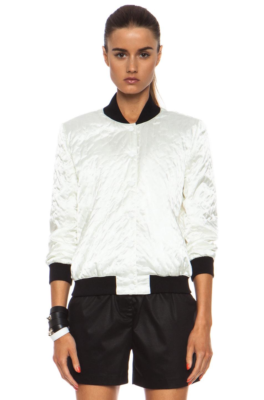 Image 2 of Maison Kitsune Polyamide Satin Bomber Jacket in Cream
