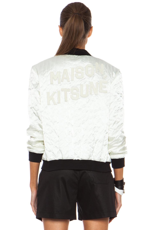 Image 5 of Maison Kitsune Polyamide Satin Bomber Jacket in Cream