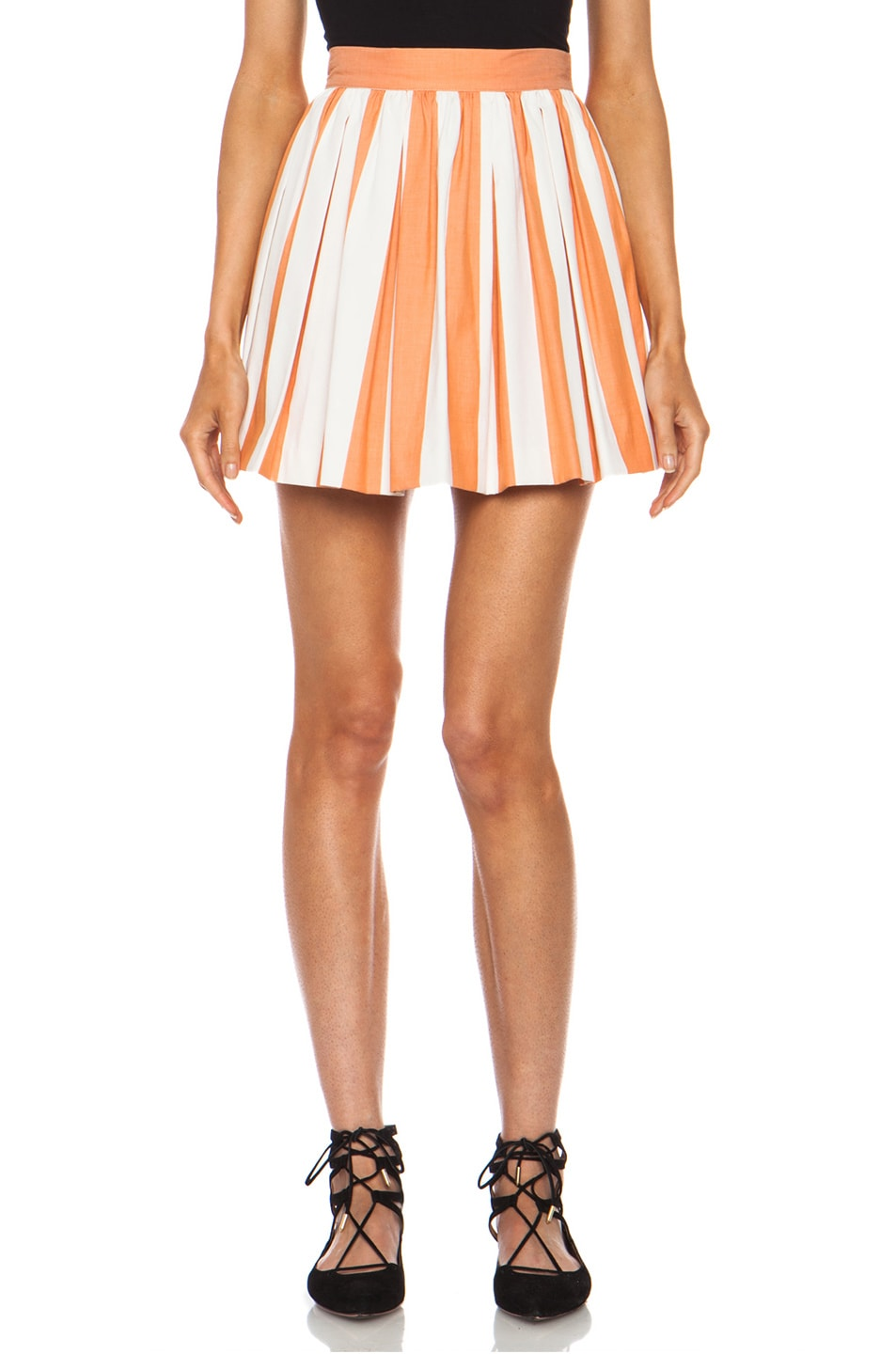 Image 1 of Maison Kitsune Stripe Cotton Skater Skirt in Rust Cream