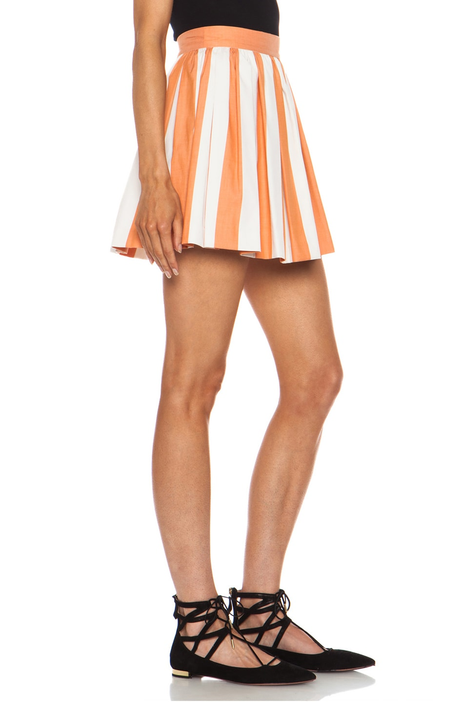 Image 3 of Maison Kitsune Stripe Cotton Skater Skirt in Rust Cream