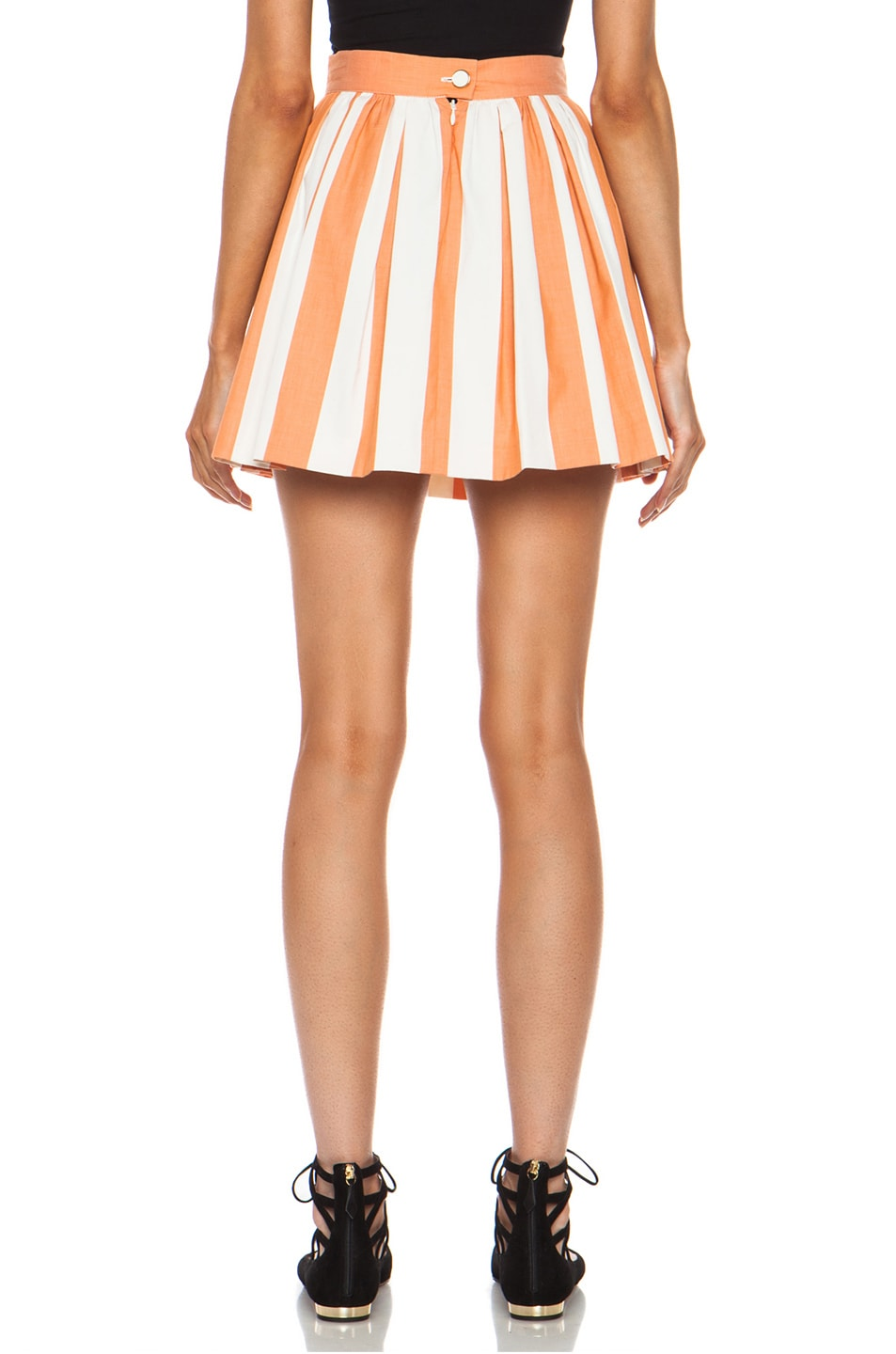 Image 4 of Maison Kitsune Stripe Cotton Skater Skirt in Rust Cream