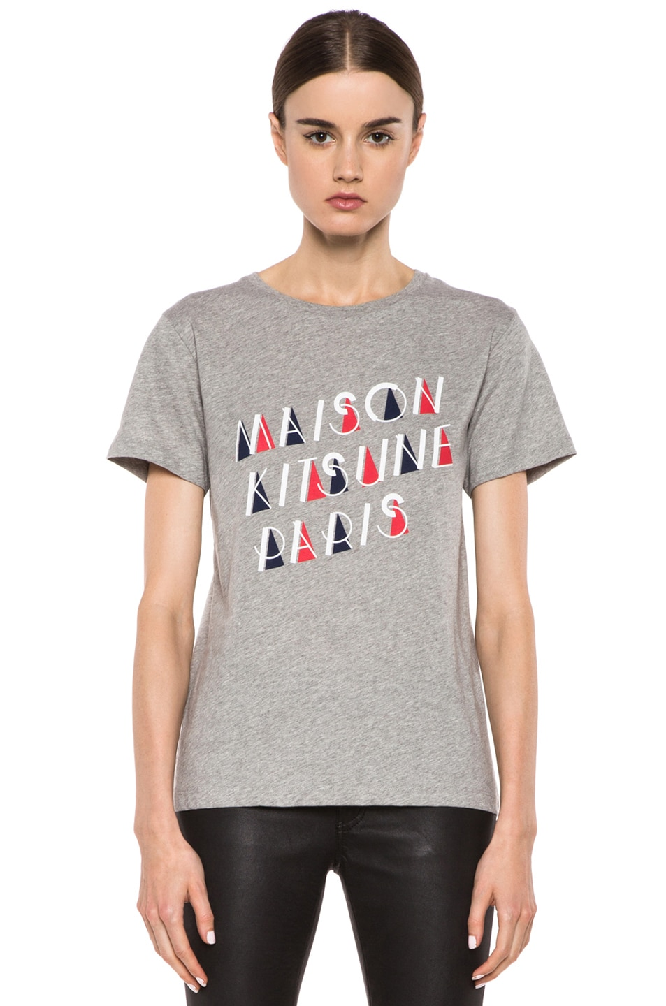 Image 1 of Maison Kitsune Cotton Tee with Print in Grey Melange