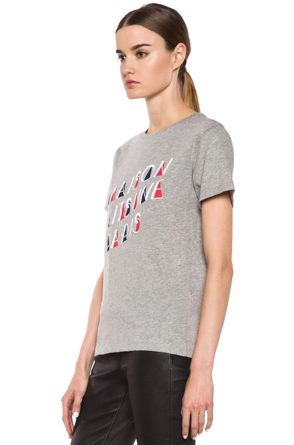 Image 2 of Maison Kitsune Cotton Tee with Print in Grey Melange