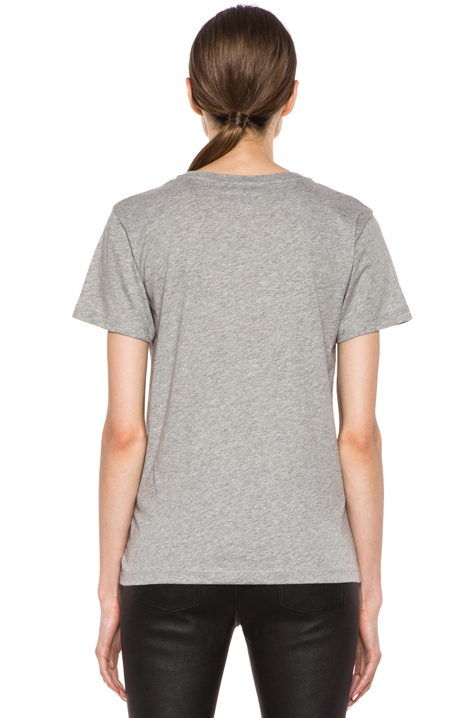 Image 4 of Maison Kitsune Cotton Tee with Print in Grey Melange