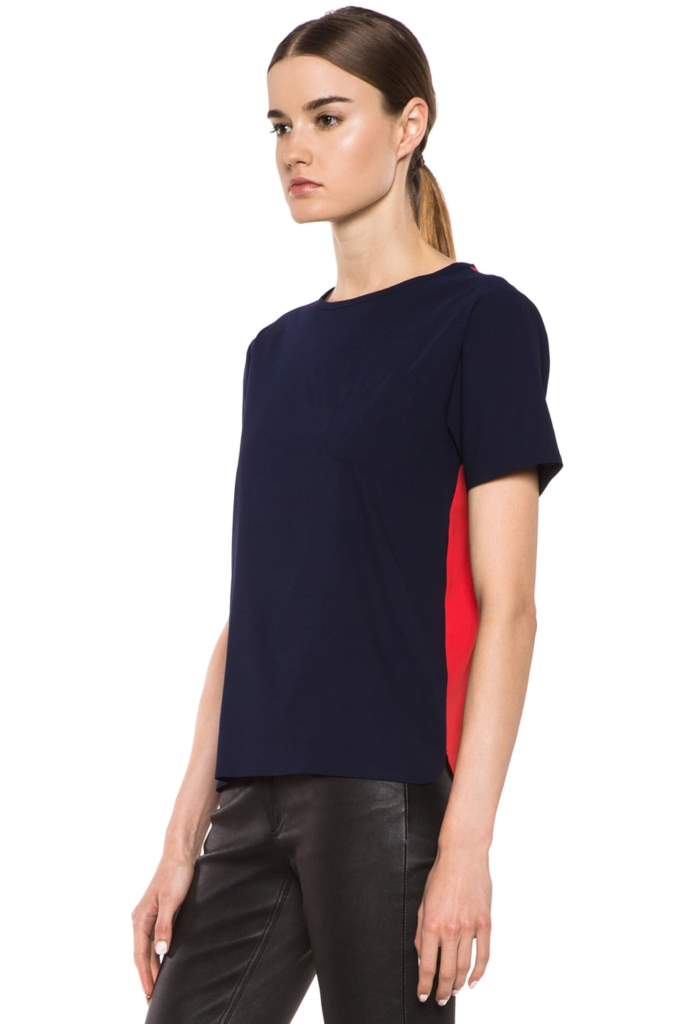 Image 2 of Maison Kitsune Bicolor Poly Top in Navy & Red