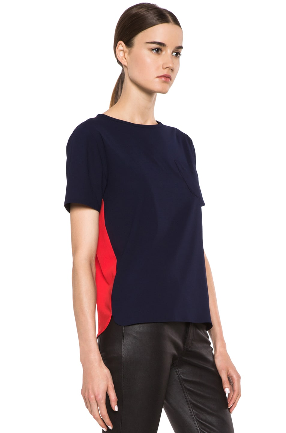 Image 3 of Maison Kitsune Bicolor Poly Top in Navy & Red