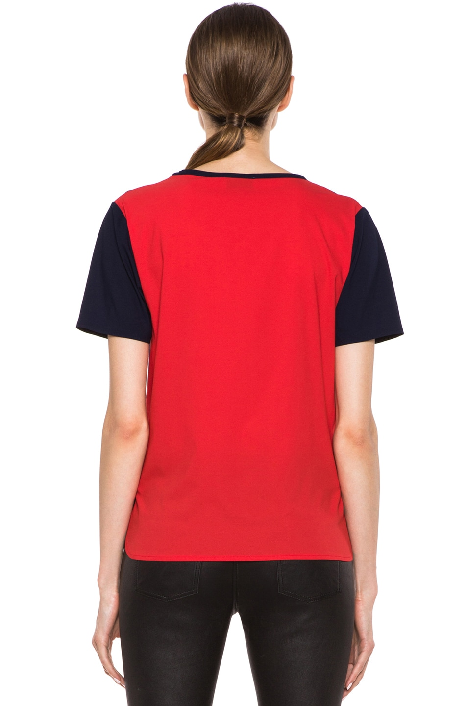 Image 4 of Maison Kitsune Bicolor Poly Top in Navy & Red