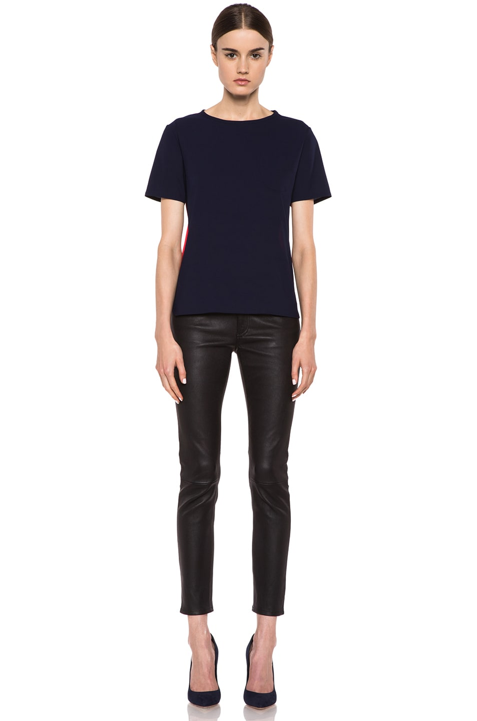 Image 5 of Maison Kitsune Bicolor Poly Top in Navy & Red