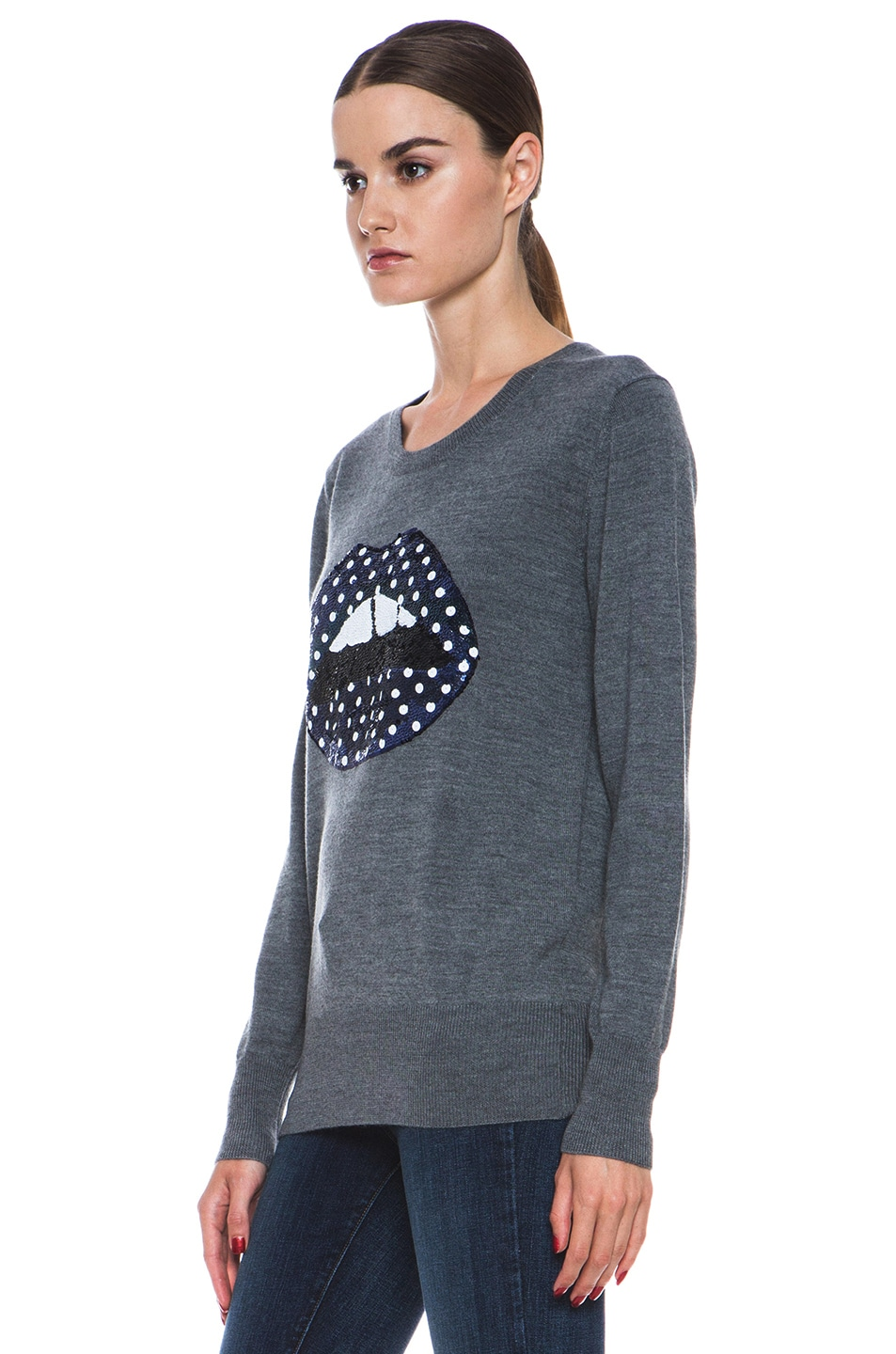 Image 2 of Markus Lupfer Blue Polka Dot Sequin Lip Sweater in Grey & Blue