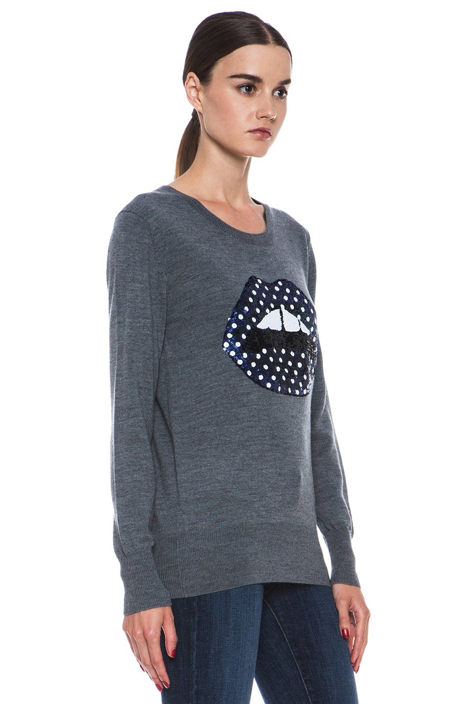 Image 3 of Markus Lupfer Blue Polka Dot Sequin Lip Sweater in Grey & Blue