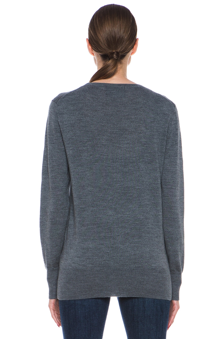 Image 4 of Markus Lupfer Blue Polka Dot Sequin Lip Sweater in Grey & Blue