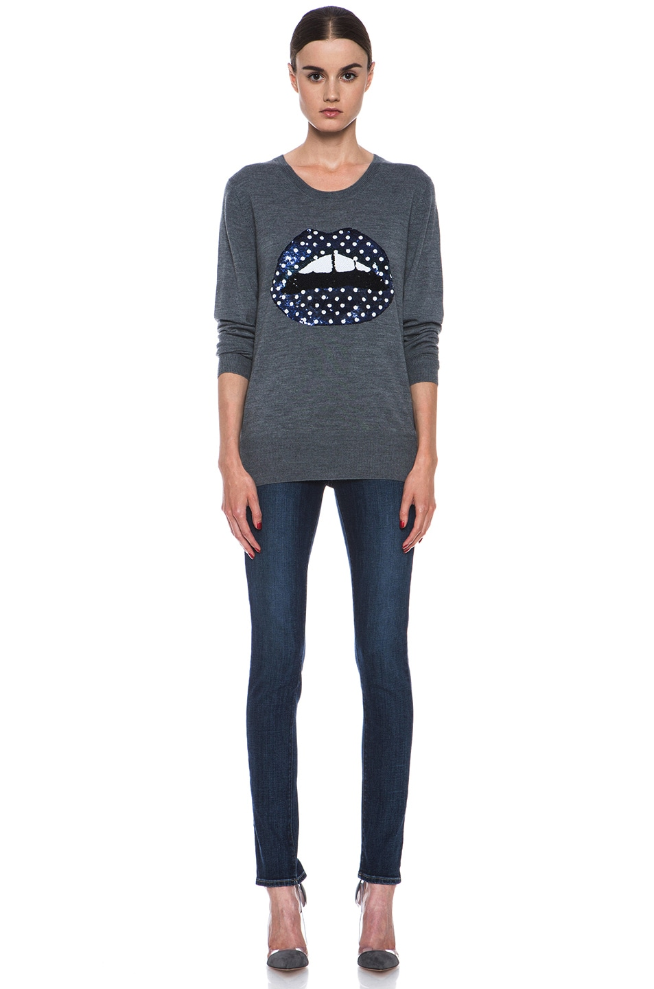 Image 5 of Markus Lupfer Blue Polka Dot Sequin Lip Sweater in Grey & Blue