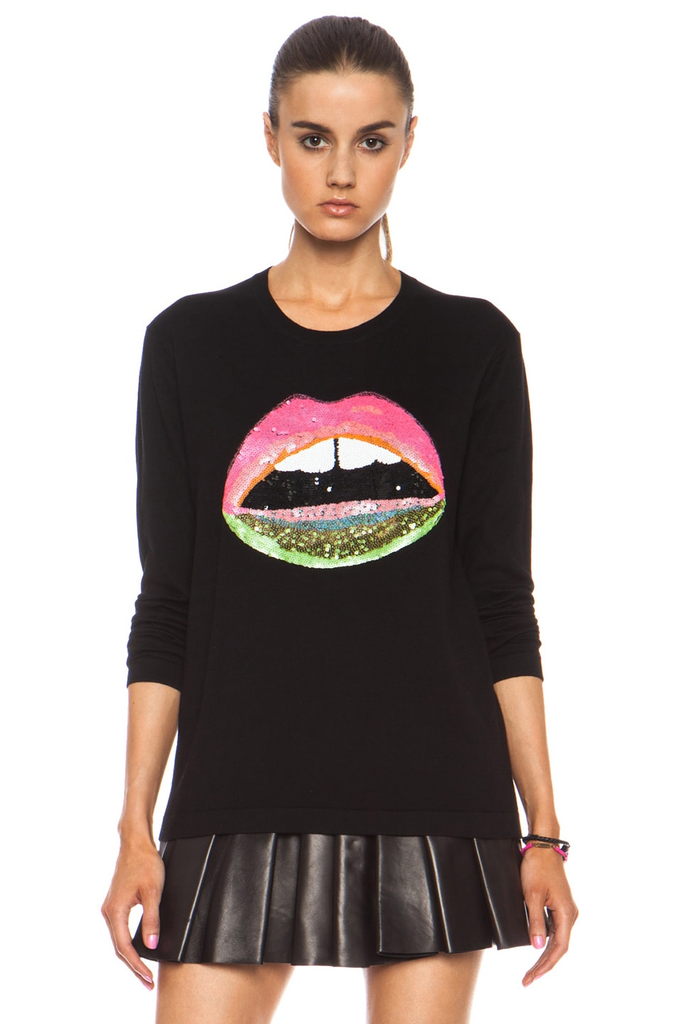 Image 1 of Markus Lupfer Neon Dip Lara Lip Knit Jumper in Black