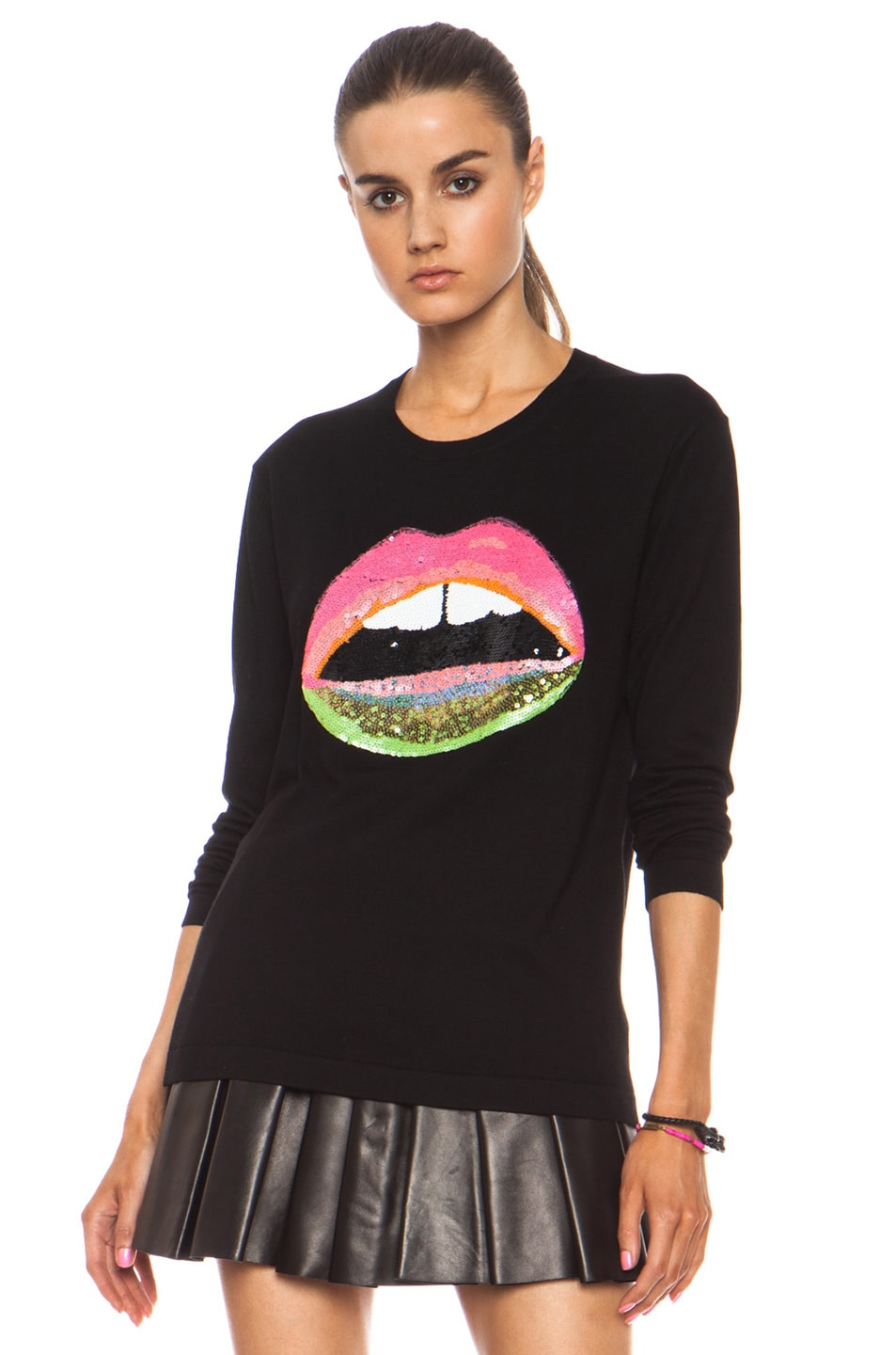 Image 2 of Markus Lupfer Neon Dip Lara Lip Knit Jumper in Black