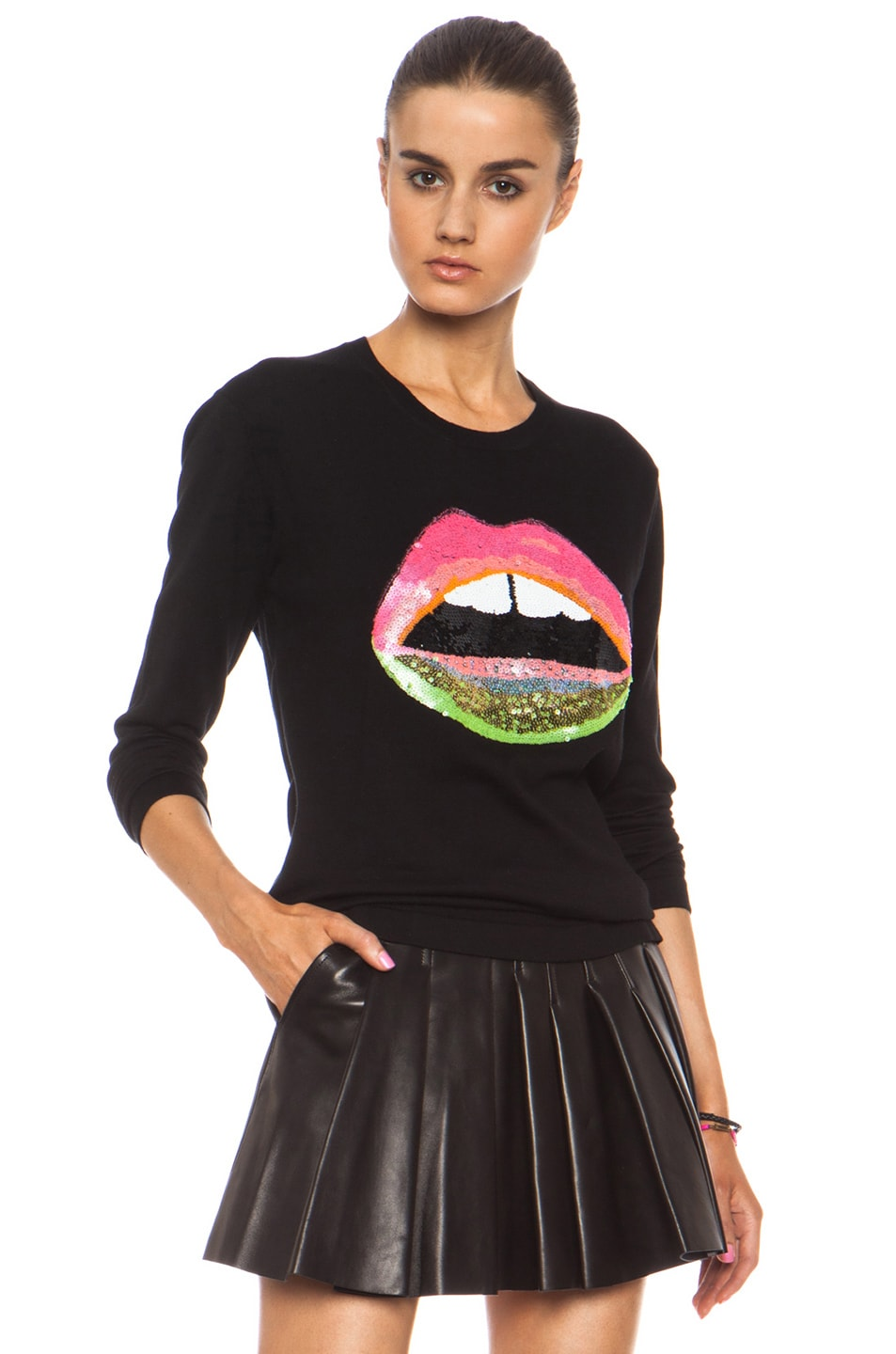 Image 3 of Markus Lupfer Neon Dip Lara Lip Knit Jumper in Black