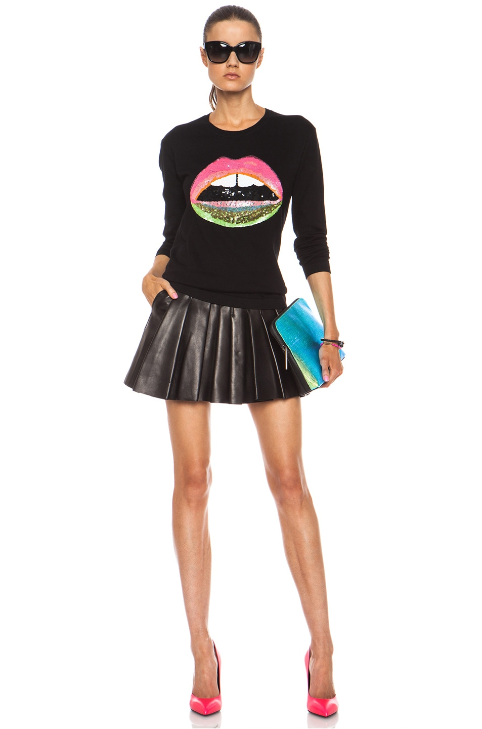 Image 5 of Markus Lupfer Neon Dip Lara Lip Knit Jumper in Black