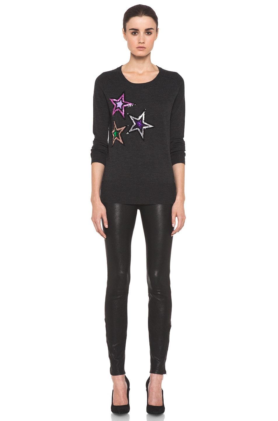 Image 5 of Markus Lupfer Sequin Star Jumper in Charcoal