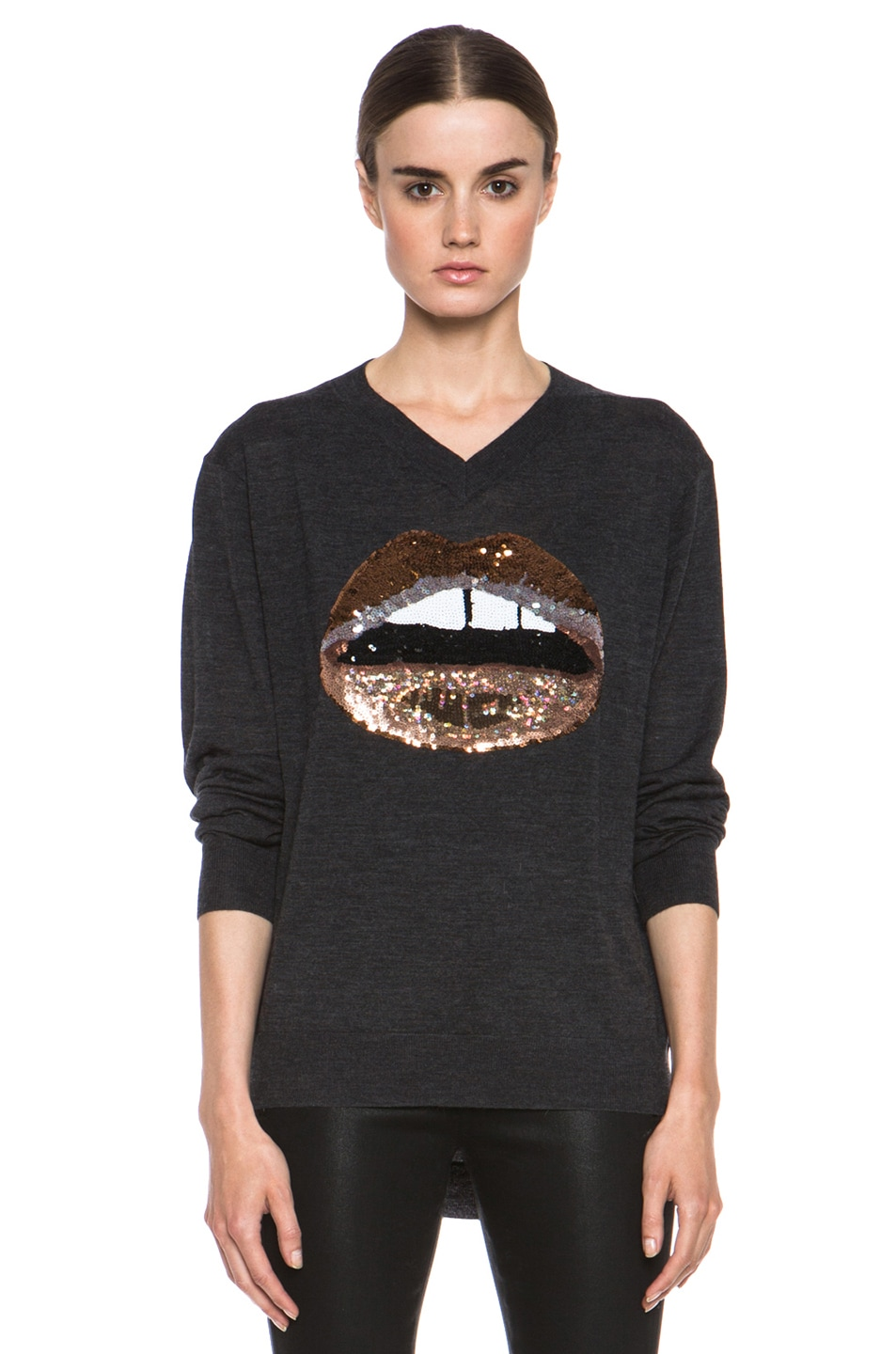 Image 1 of Markus Lupfer V Neck Sweater in Charcoal