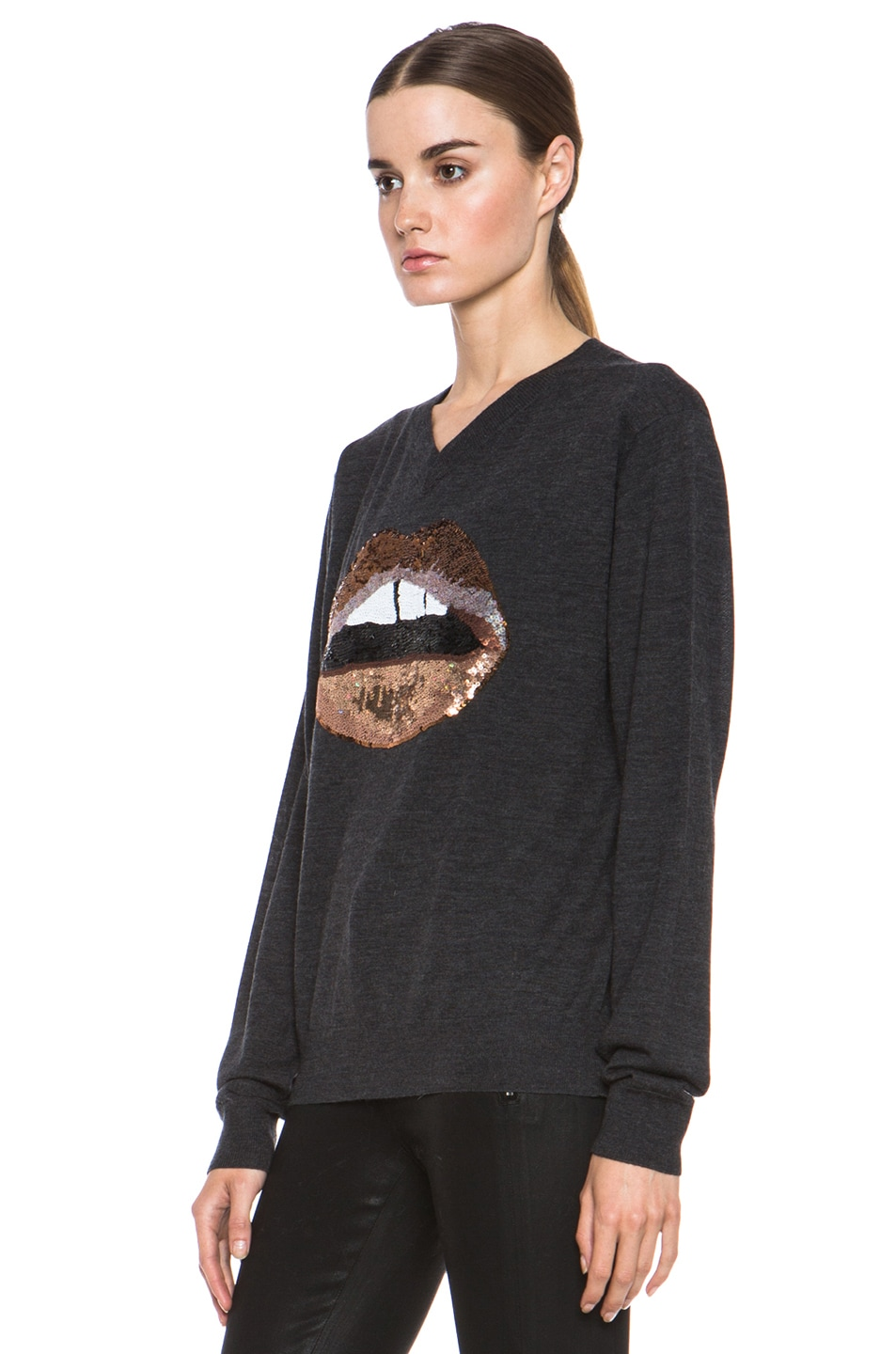 Image 2 of Markus Lupfer V Neck Sweater in Charcoal