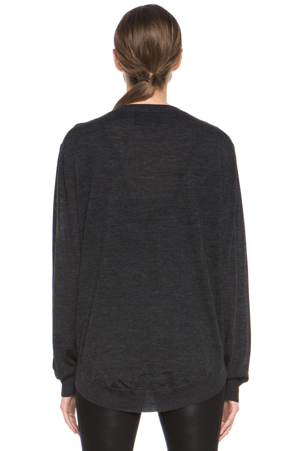Image 4 of Markus Lupfer V Neck Sweater in Charcoal