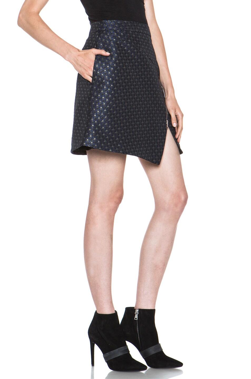 Image 3 of Markus Lupfer Brocade Poly-Blend Zip Skirt in Navy