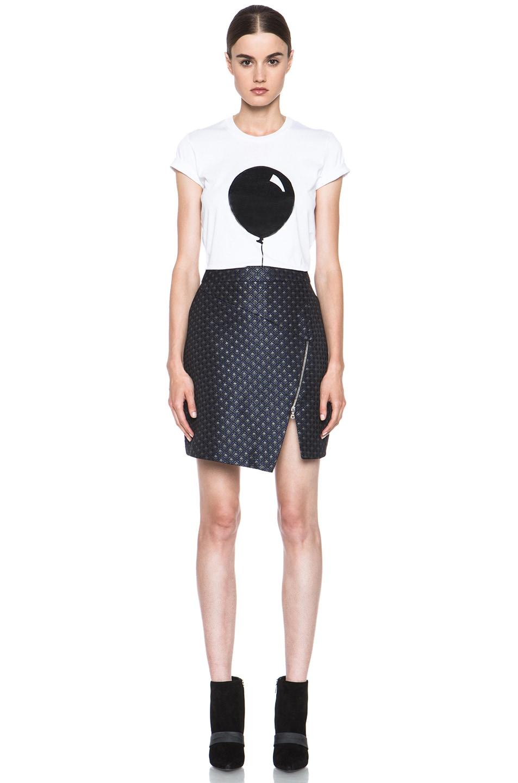 Image 5 of Markus Lupfer Brocade Poly-Blend Zip Skirt in Navy
