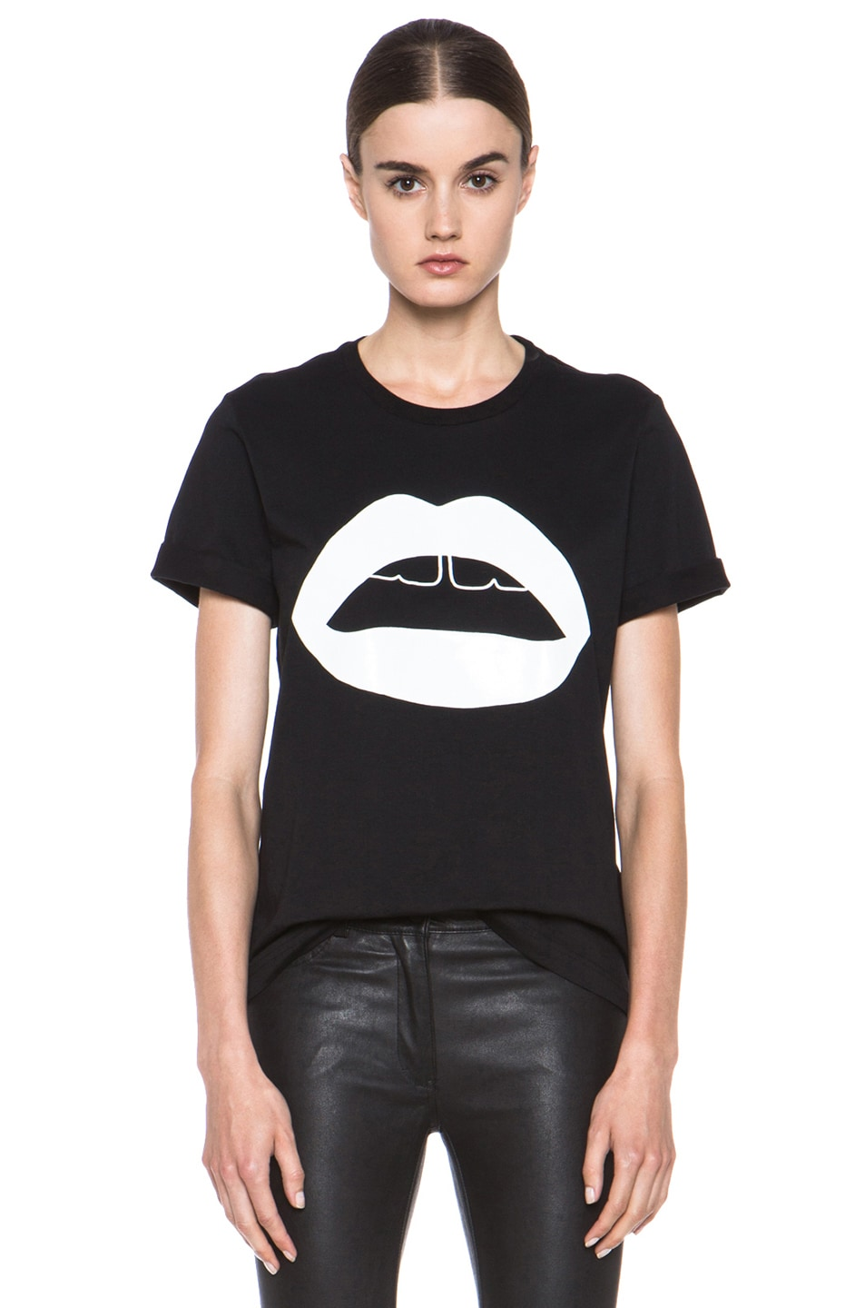 Image 1 of Markus Lupfer Rubber Graphic Lip Cotton Tee in Black & White
