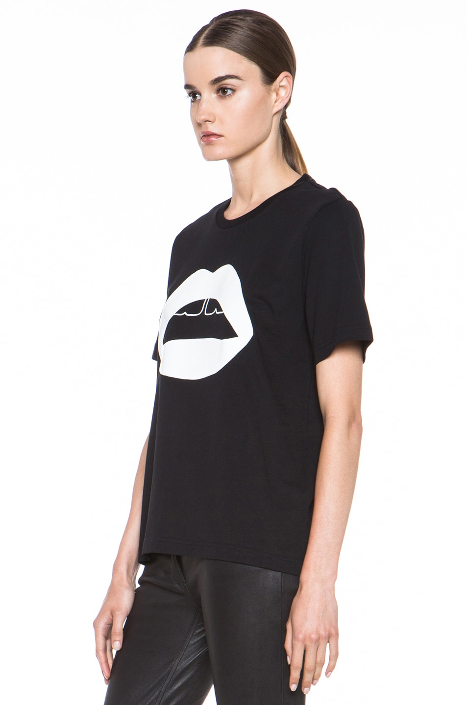 Image 2 of Markus Lupfer Rubber Graphic Lip Cotton Tee in Black & White