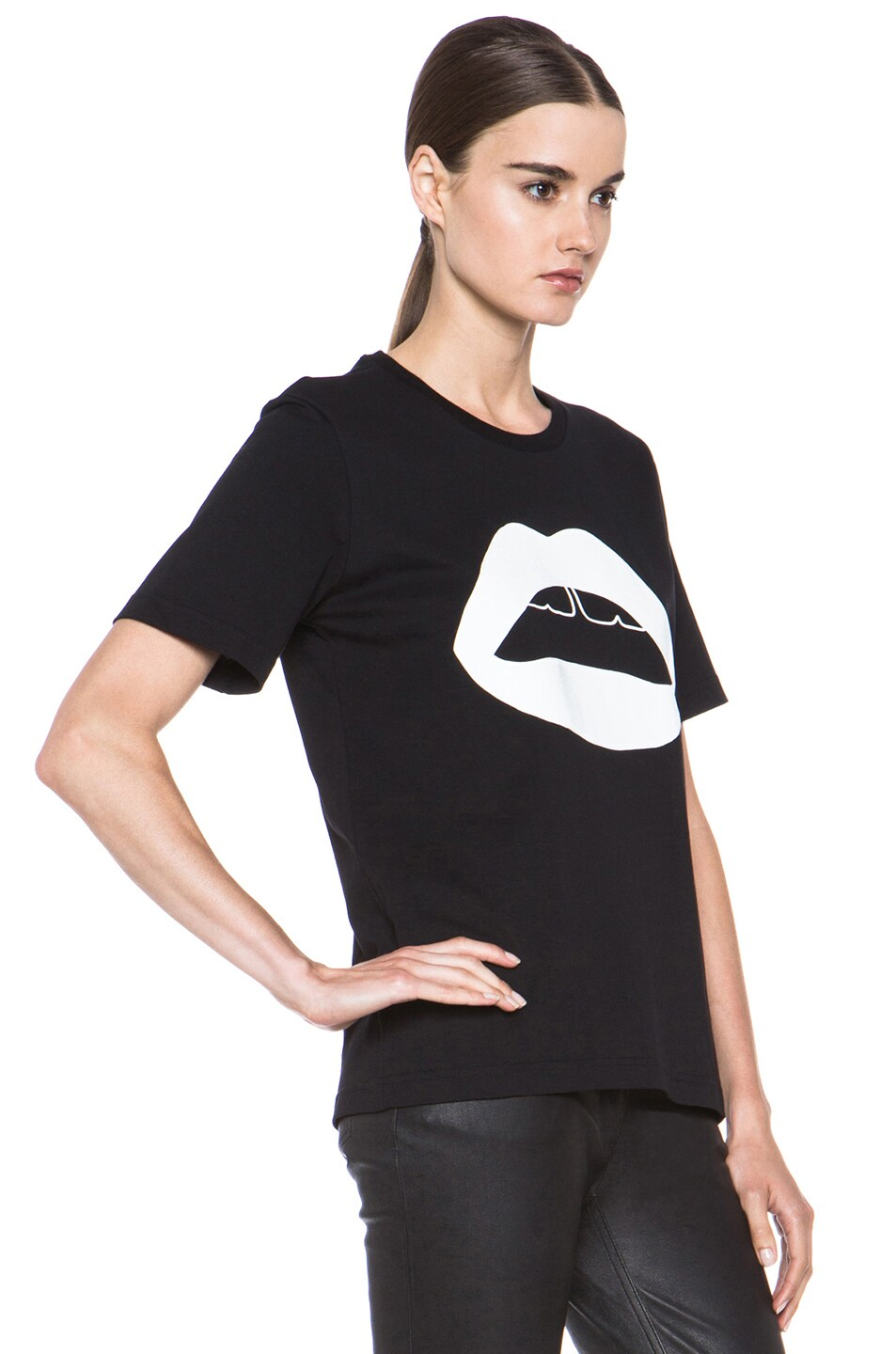 Image 3 of Markus Lupfer Rubber Graphic Lip Cotton Tee in Black & White