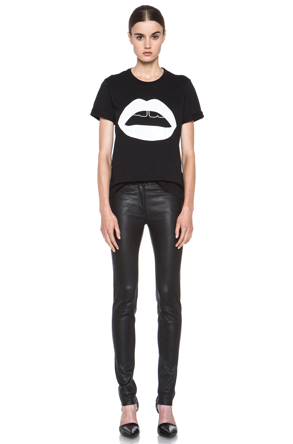 Image 5 of Markus Lupfer Rubber Graphic Lip Cotton Tee in Black & White