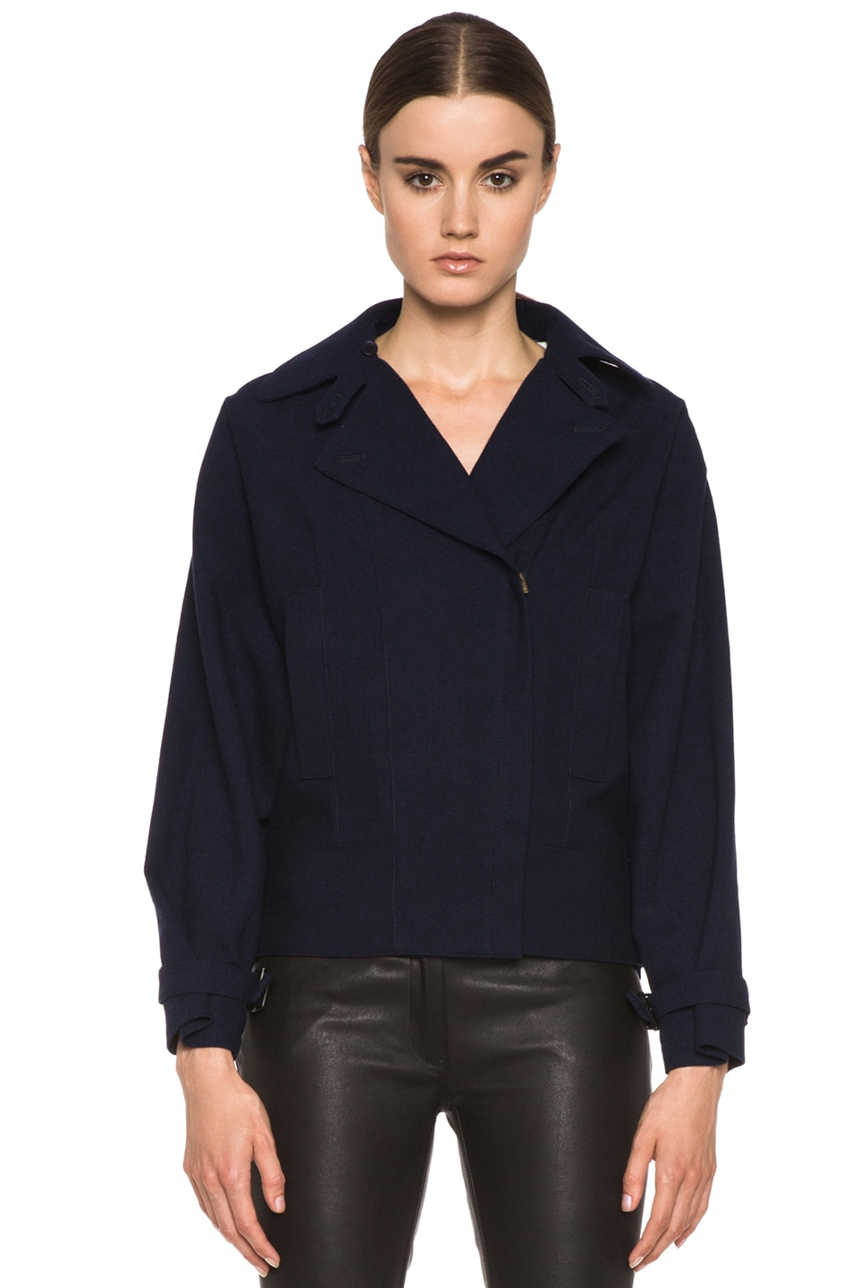 Image 2 of MM6 Maison Margiela Cropped Wool Coat in Indigo