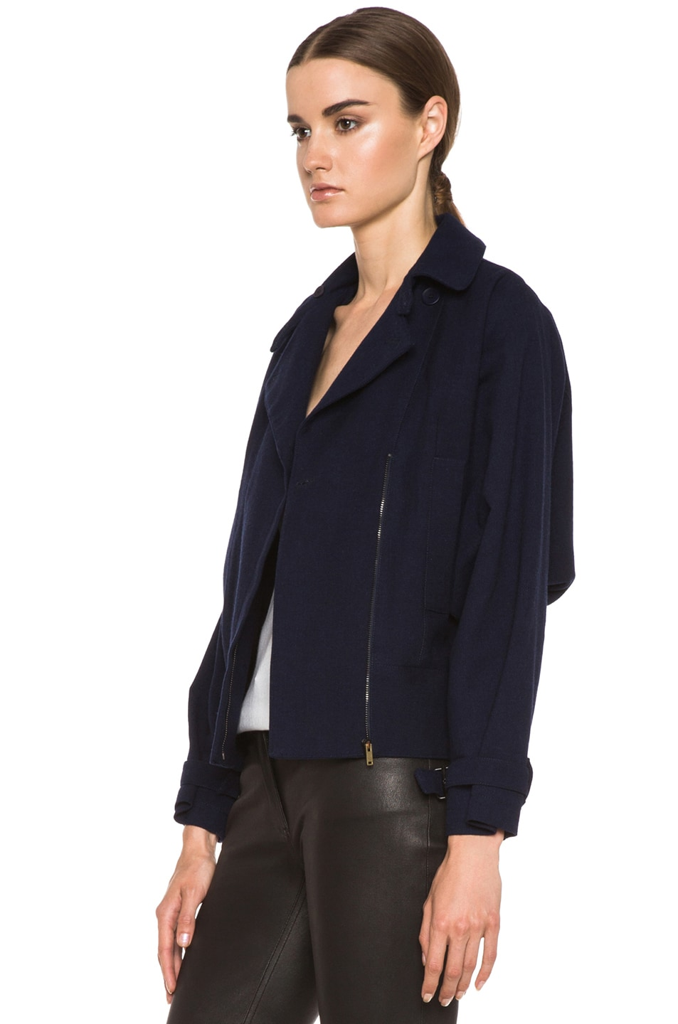 Image 3 of MM6 Maison Margiela Cropped Wool Coat in Indigo